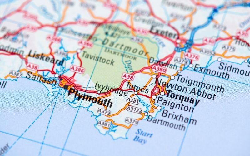 Motorhome Hire South West - Map of South Devon - Kintripper Motorhome Hire